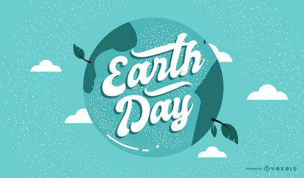 Earth day planet lettering