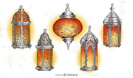 Pacote de ilustração de lanterna do Ramadã