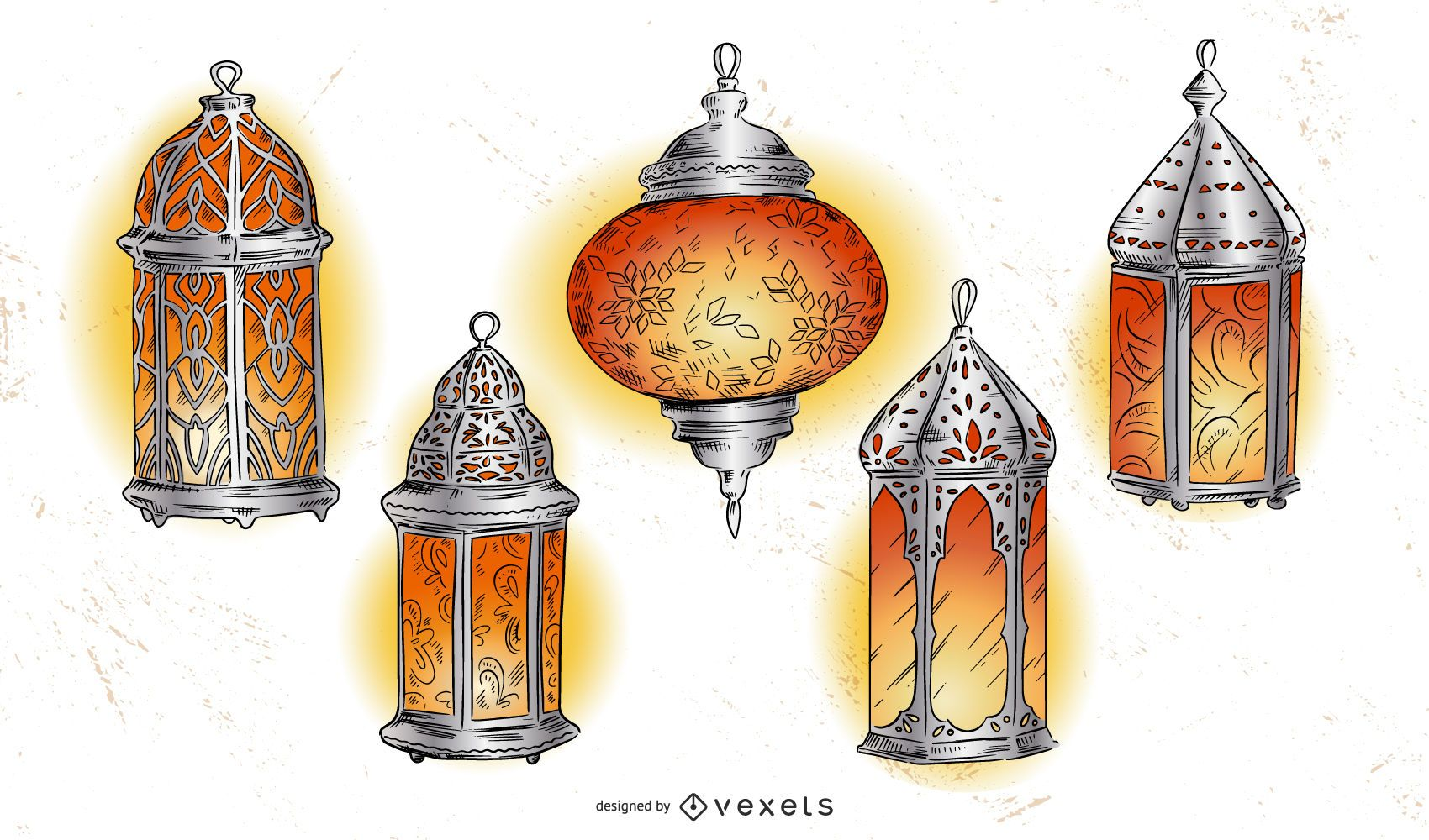 Paquete de ilustración de linterna de Ramadán