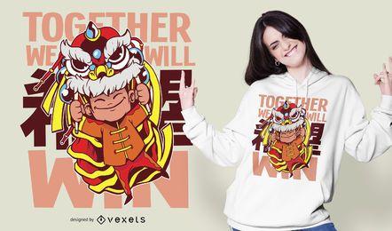 Diseño de camiseta de cita de león chino de coronavirus