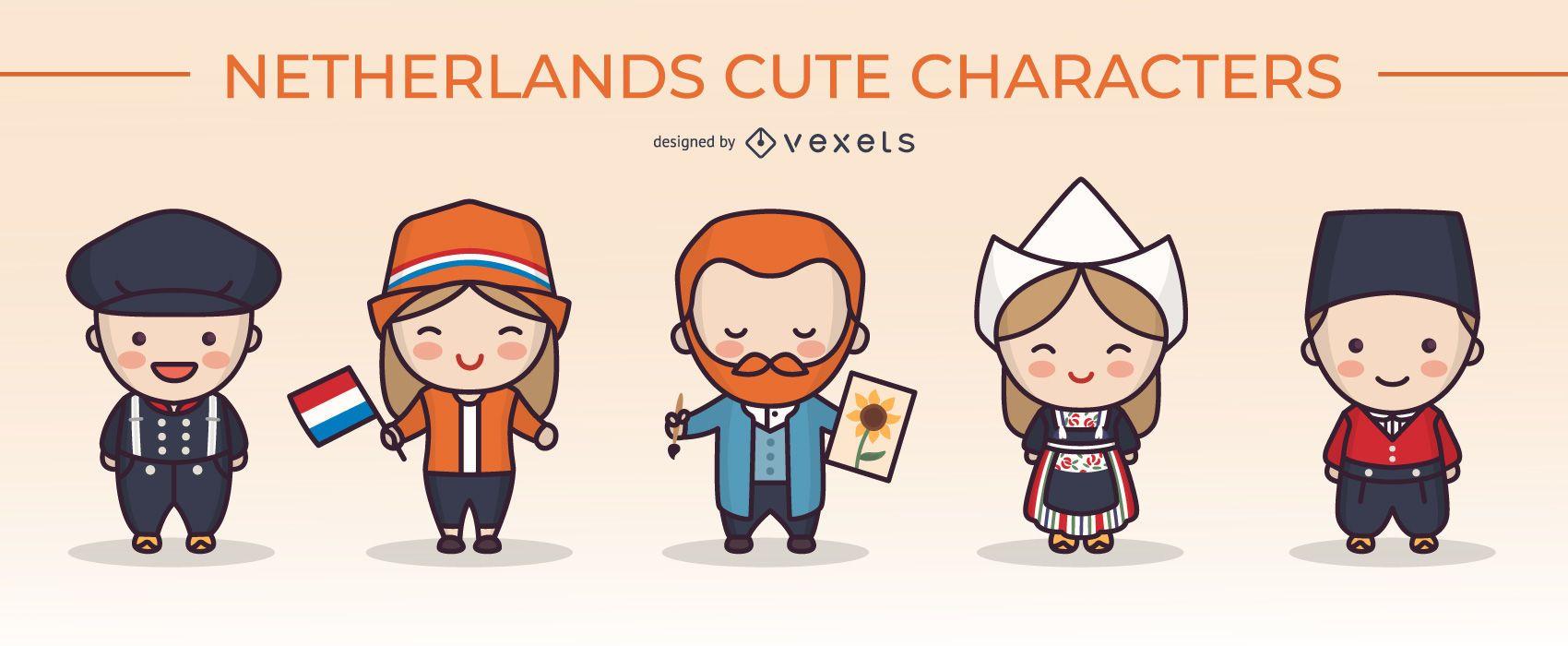Conjunto de caracteres lindo pueblo holandés