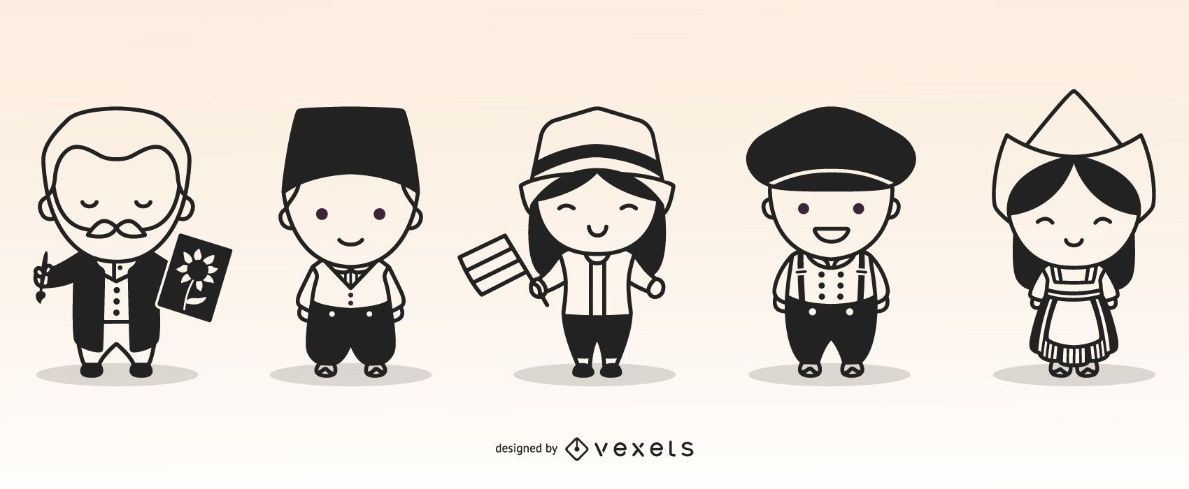 Cute Netherlands Character Monochrome Set
