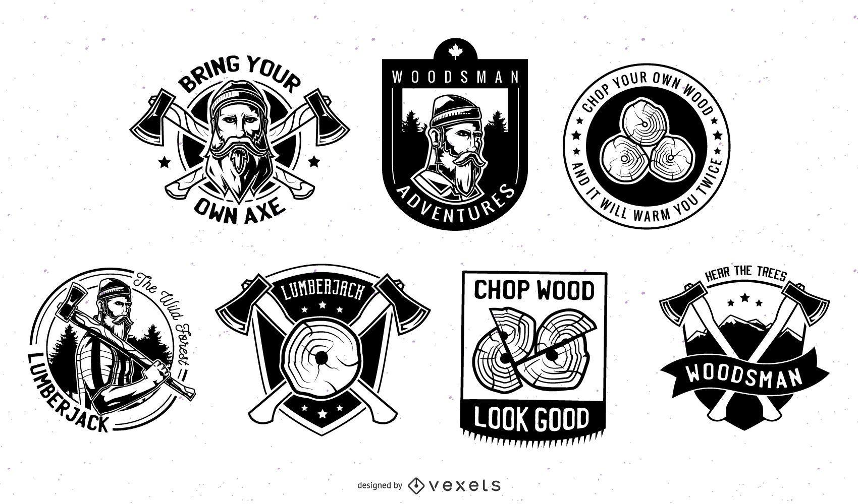 Conjunto de emblemas de lenhador