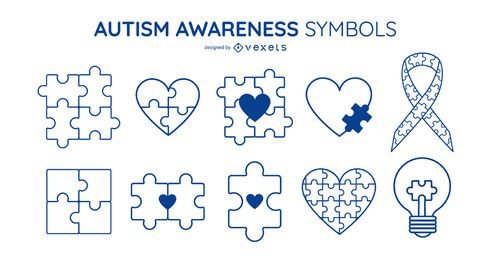 Autism Awareness Stroke Symbol Set