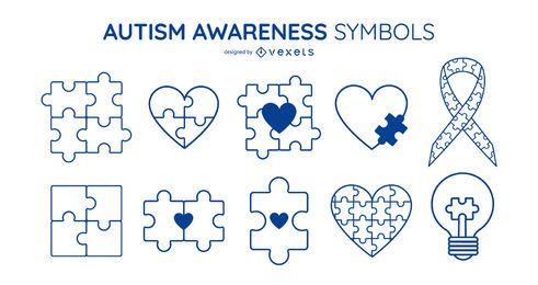 Conjunto de símbolos de trazo de concienciación del autismo