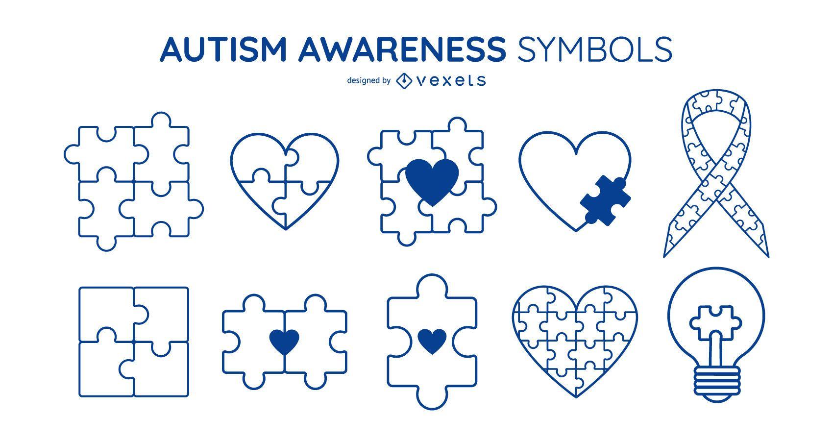 Autism Awareness Stroke Symbol Set