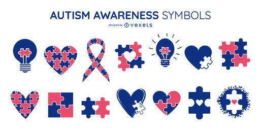 Paquete de símbolos coloreados de concienciación sobre el autismo