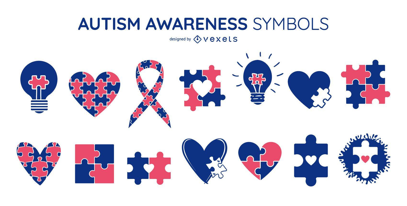 Paquete de símbolos de colores de concienciación sobre el autismo