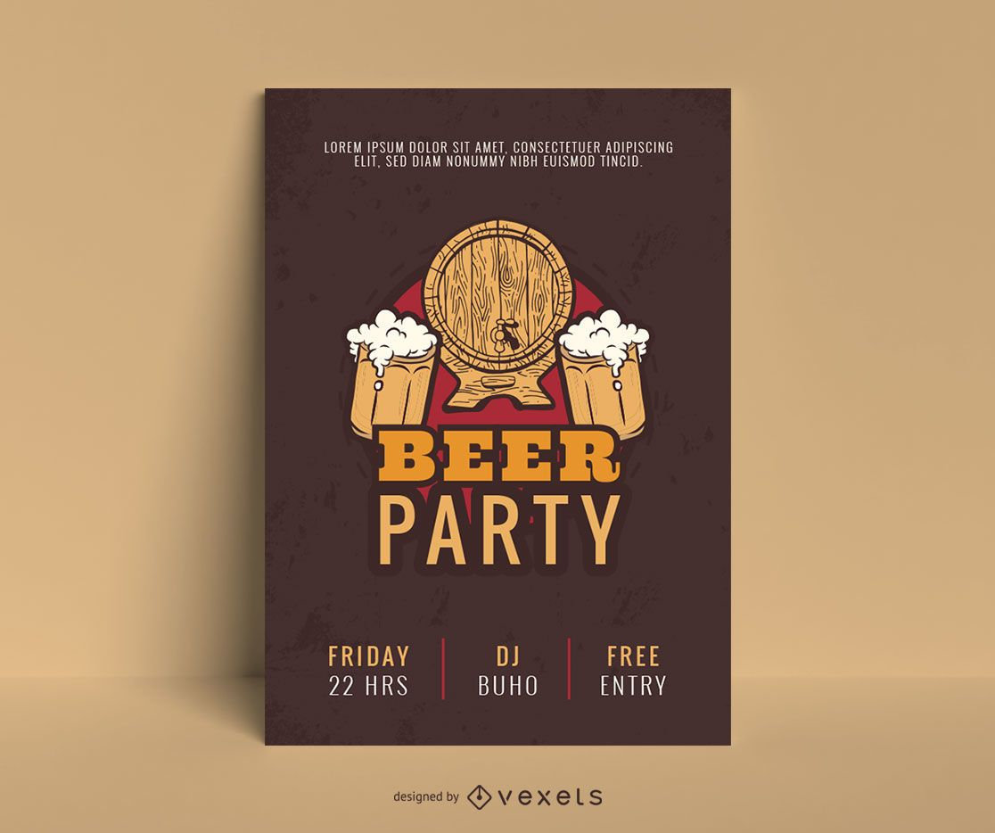 Beer Party Poster Template Design