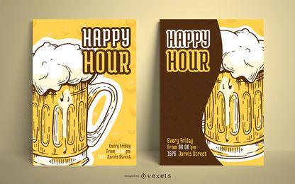 Pacote de design de cartaz de cerveja ilustrada