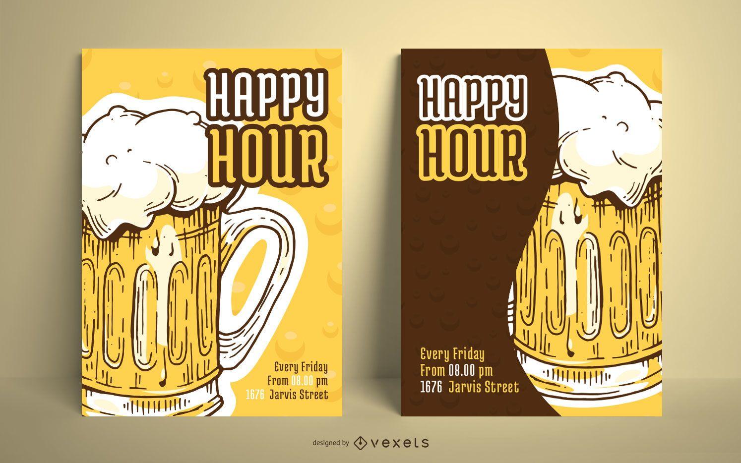 Paquete ilustrado de diseño de carteles de cerveza