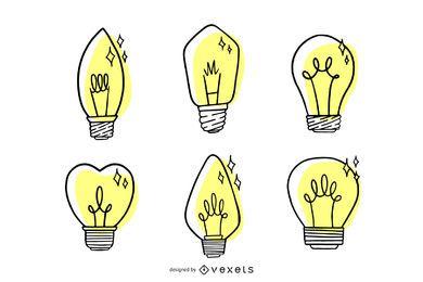 Juego de bombillas dibujadas a mano