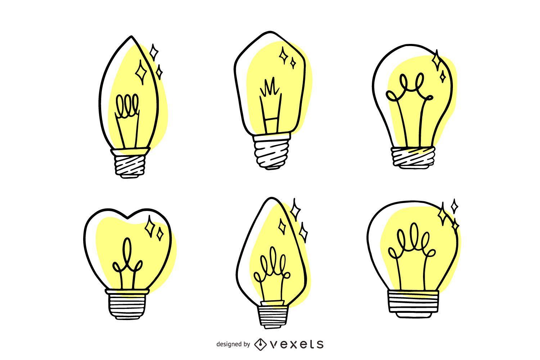 Hand Drawn Light Bulb Set