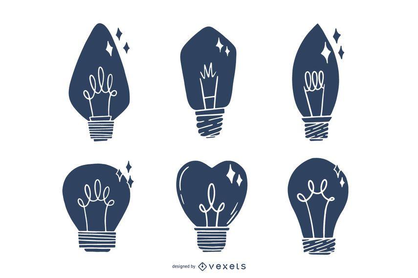 Silhouette Hand Drawn Light Bulb Set