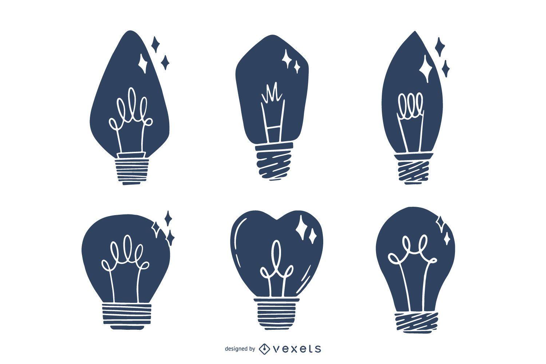 Conjunto de bombilla de luz dibujada a mano silueta