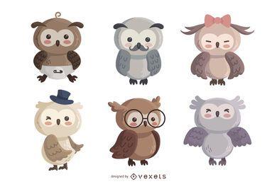 Conjunto de caracteres lindos búho