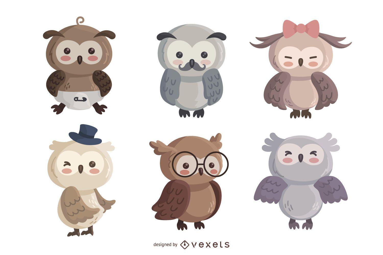 Owl cute character set