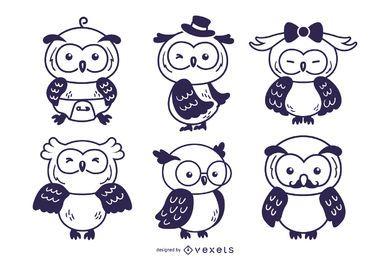 Owl cute character stroke set