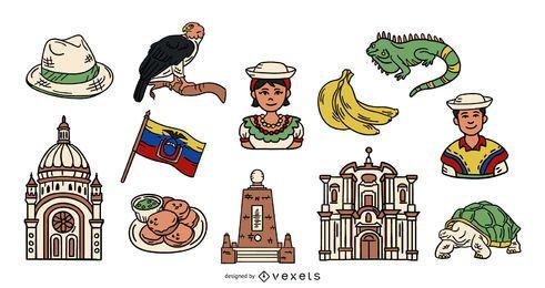 Pack de elementos ilustrados coloreados de Ecuador