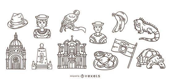 Pacote de elementos de traçado desenhado à mão no Equador