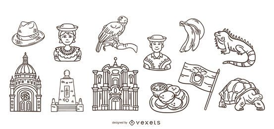 Paquete de elementos de trazo dibujado a mano de Ecuador