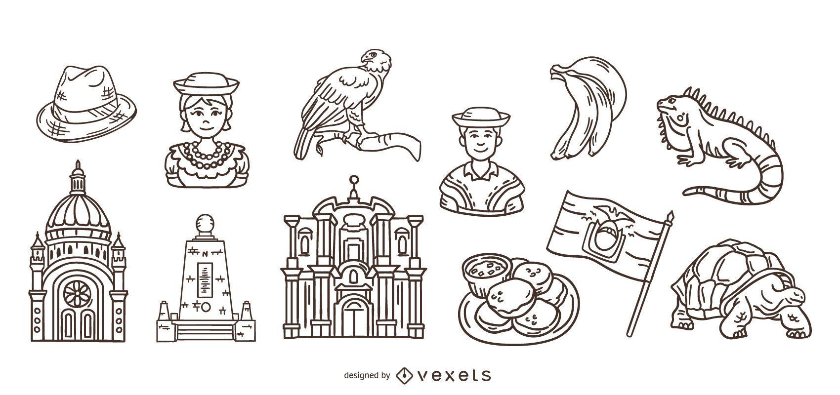 Pacote de Elementos do Traço Desenhado à Mão Equador