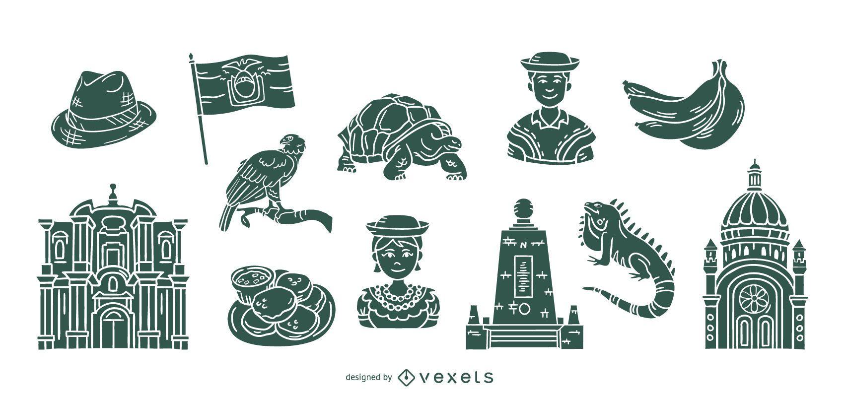 Paquete de elementos de silueta de Ecuador