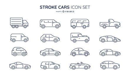 Conjunto de ícones de carros de acidente vascular cerebral