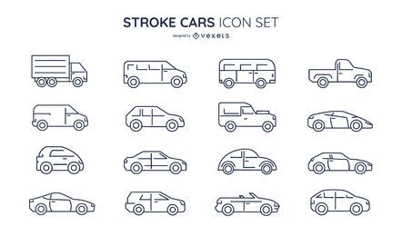 Stroke cars icon set