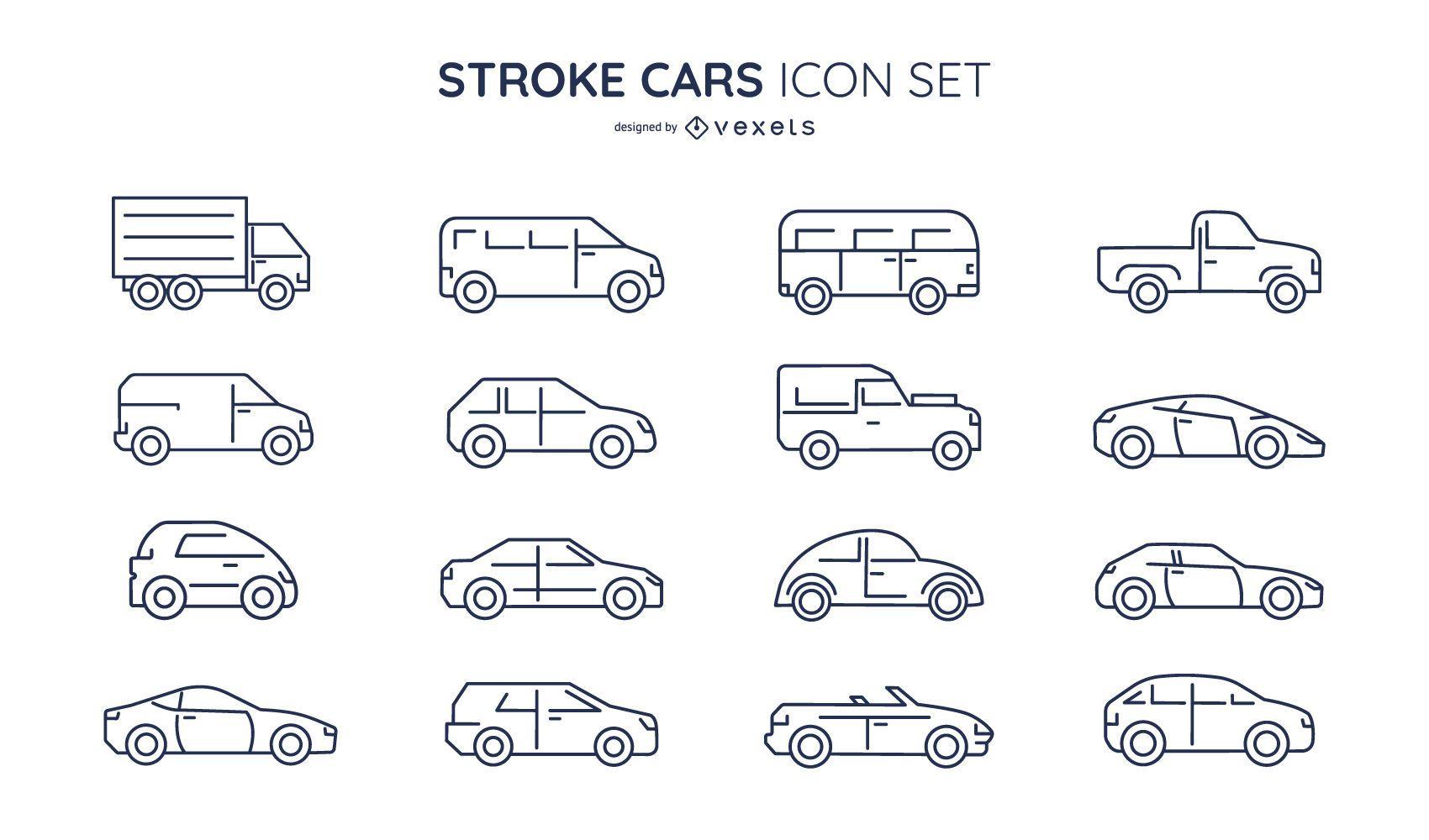 Stroke cars icon set