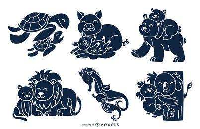 Pacote de design de silhueta de mães de animais