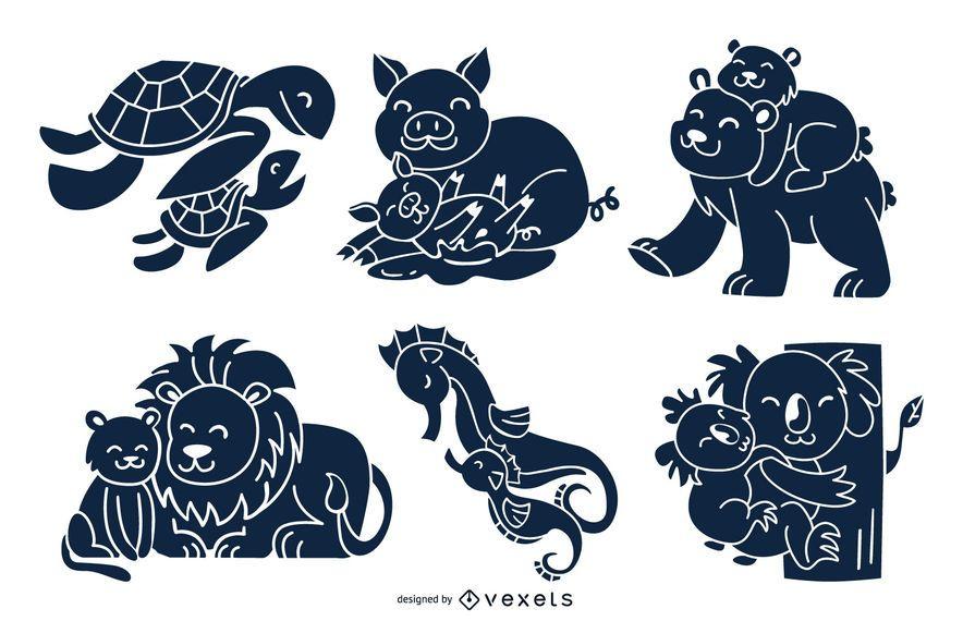 Paquete de diseño de silueta de mamás animales
