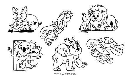 Conjunto de ilustração de traços de pais animais