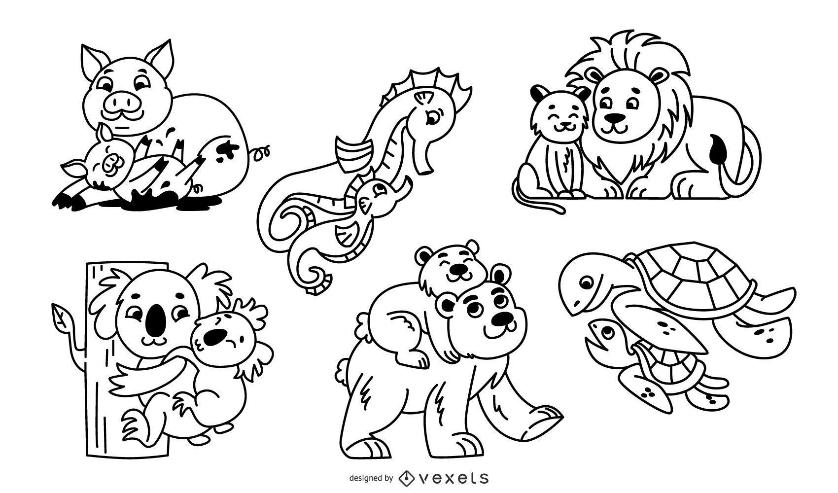 Conjunto de ilustración de trazo de padres animales