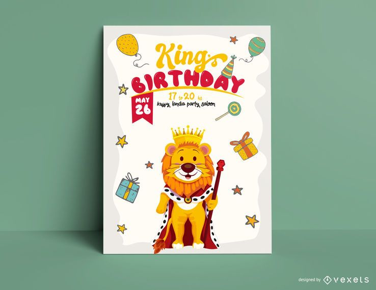 Lion king birthday invitation template
