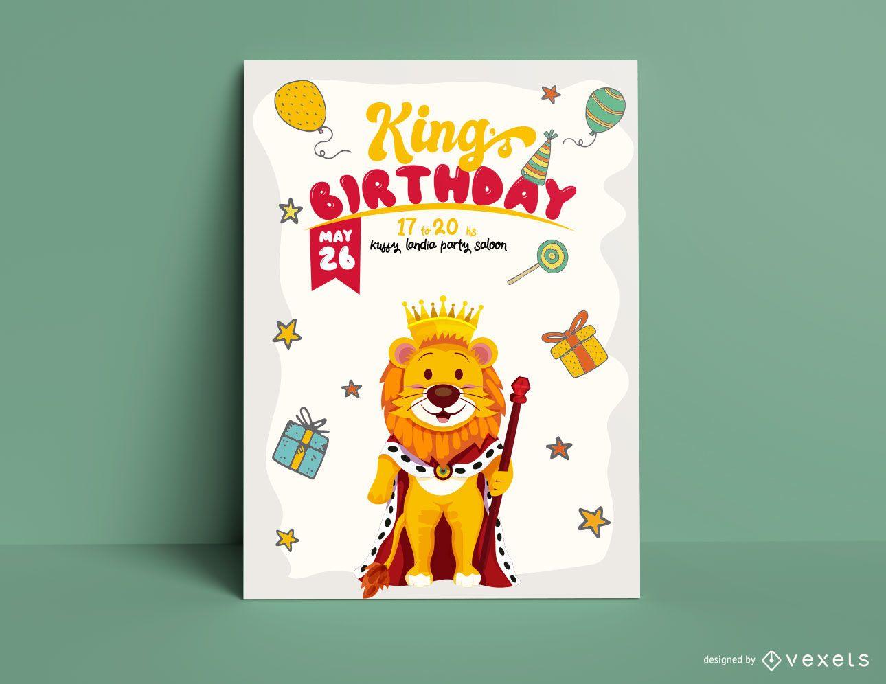 Plantilla de invitación de cumpleaños del rey león