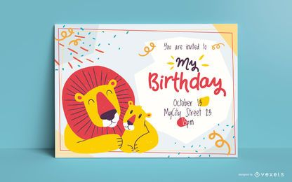 Lions birthday invitation template