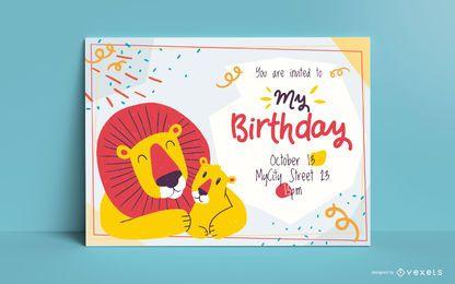 Lions-Geburtstagseinladungsschablone
