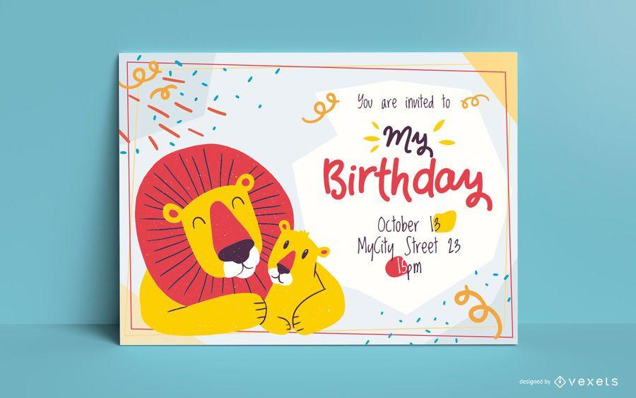Plantilla de invitación de cumpleaños de leones
