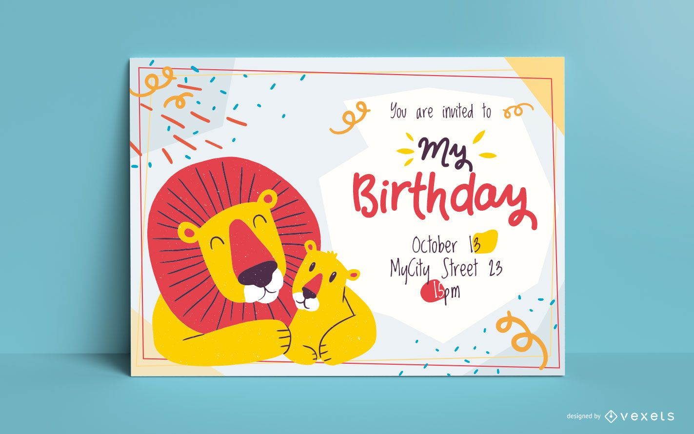 Lions birthday invitation template