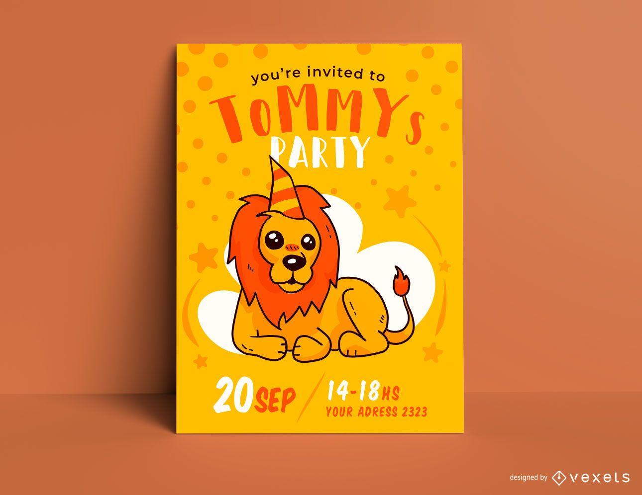 Lion birthday invitation template