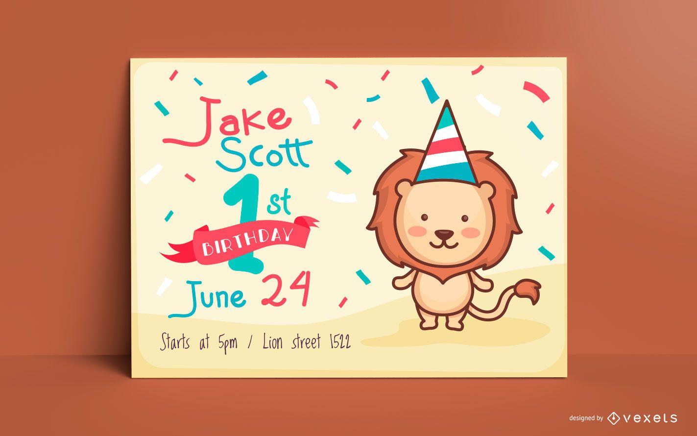 Cute lion birthday invitation template