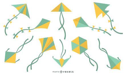 Paquete de diseño geométrico colorido de cometas