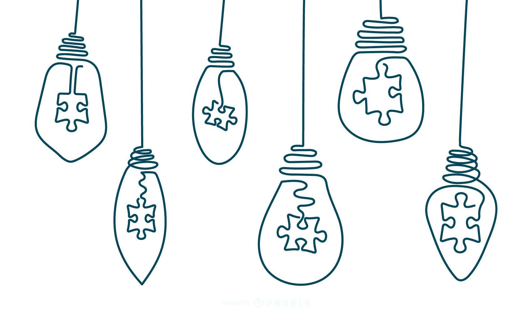 Paquete de bombillas de luz de trazo de dibujo a mano