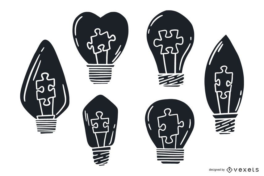 Hand Drawing Silhouette Light Bulb Pack