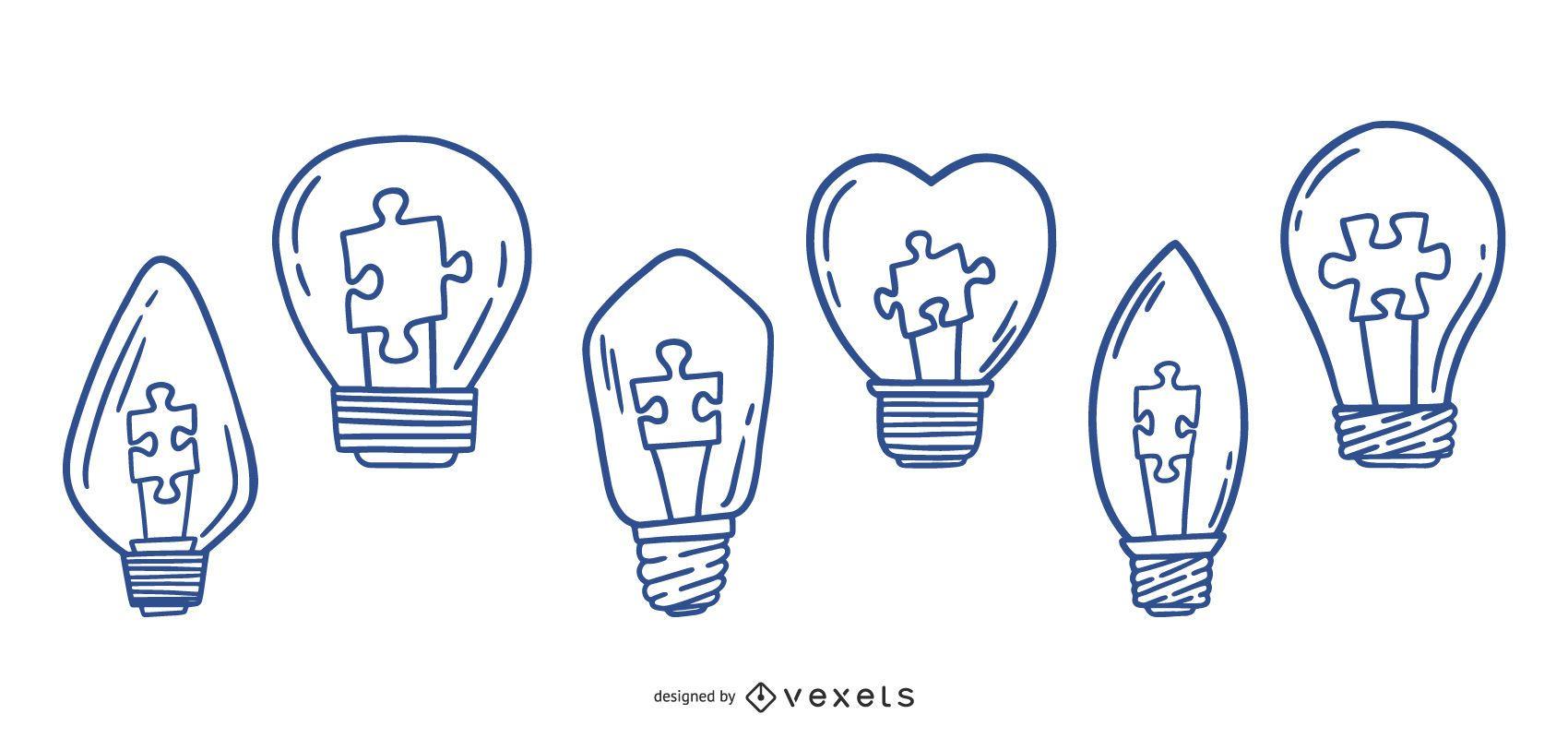 Paquete de diseño de bombillas de luz para autismo de trazo