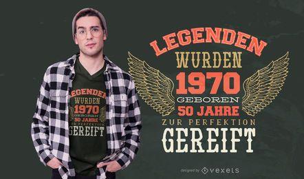 Design de camisetas com citações alemãs de 50 anos