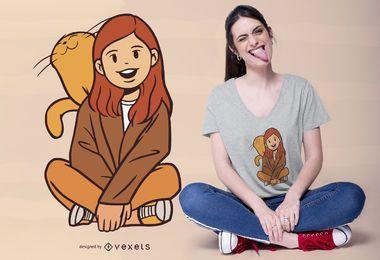 Menina com design de t-shirt de gatinho