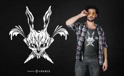Projeto desagradável do t-shirt do crânio do coelho