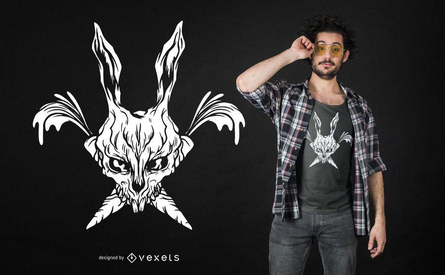 Grim Bunny Skull T-shirt Design